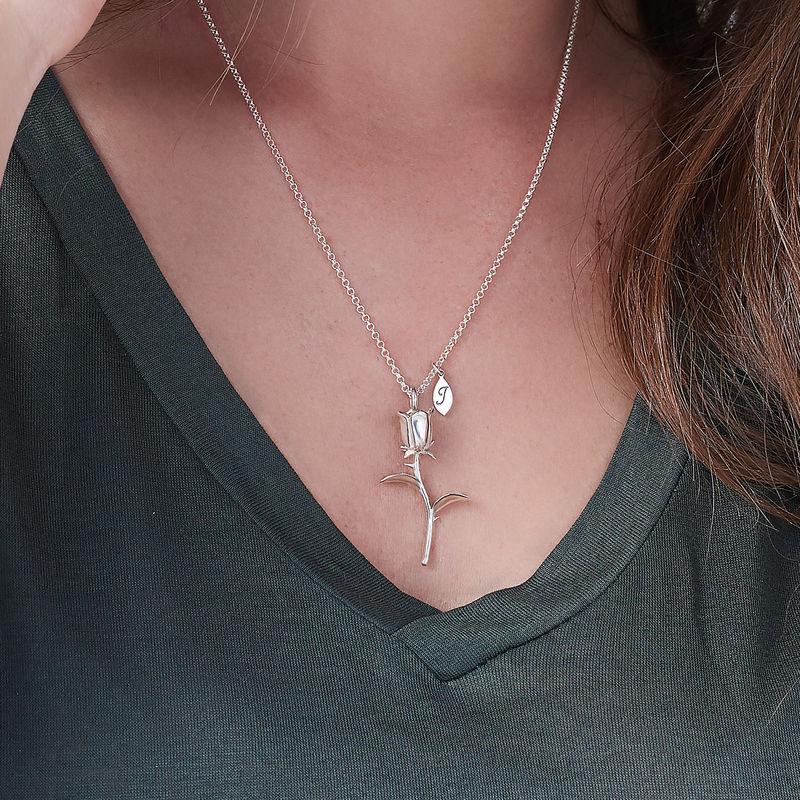 Collar de Rosa Flor con colgantes de inicial en plata de ley - 2