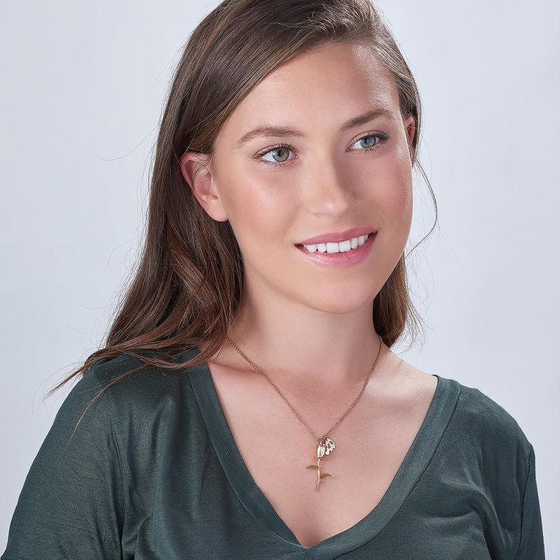Collar de Rosa Florcon colgantes de inicial chapado en oro rosa - 1