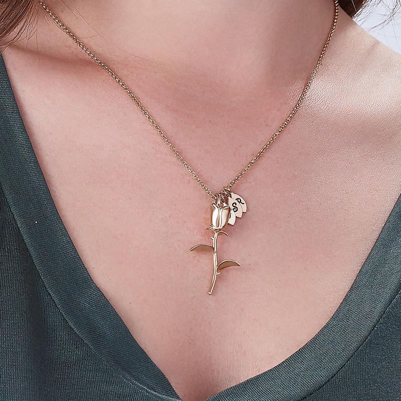 Collar de Rosa Florcon colgantes de inicial chapado en oro rosa - 2