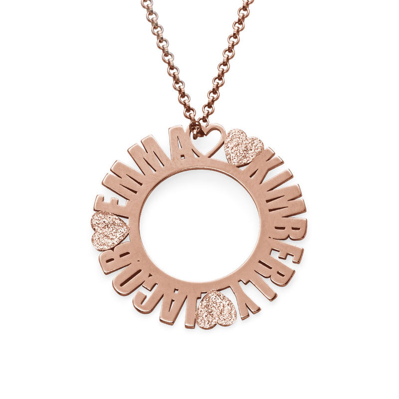 Collar con Nombre en Círculo Chapado en Oro Rosa con Efecto Diamante