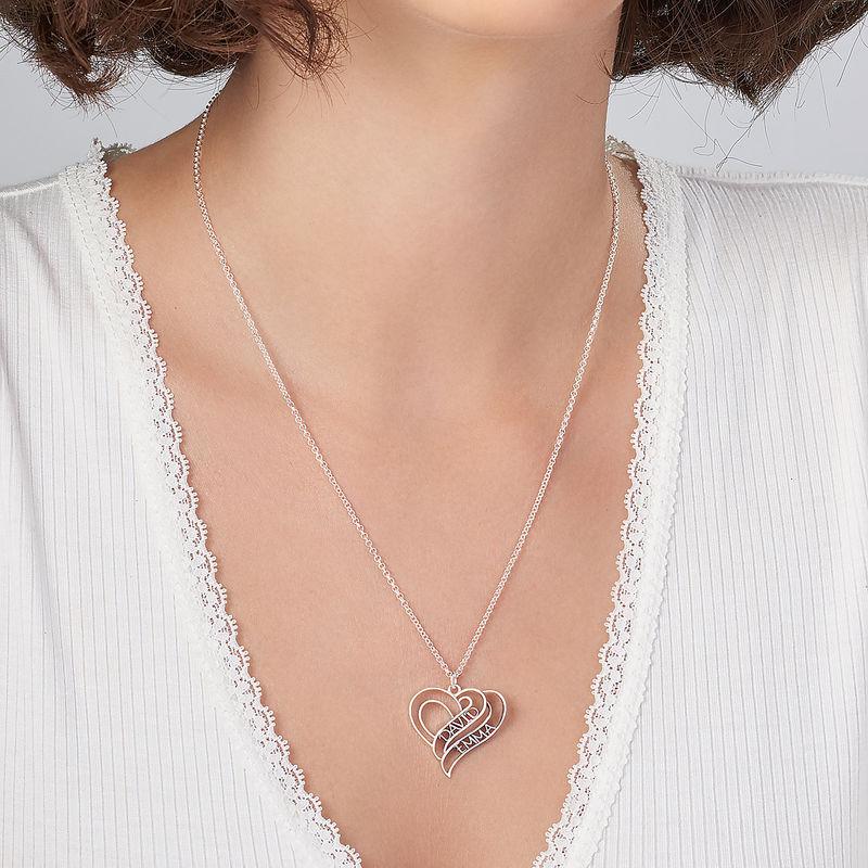 Collar Personalizado de Corazón 3D en Plata de Ley - 3