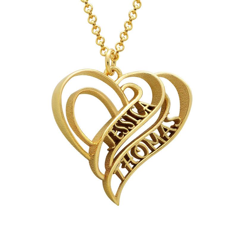 Collar Personalizado de Corazón 3D Chapado en Oro de 18k
