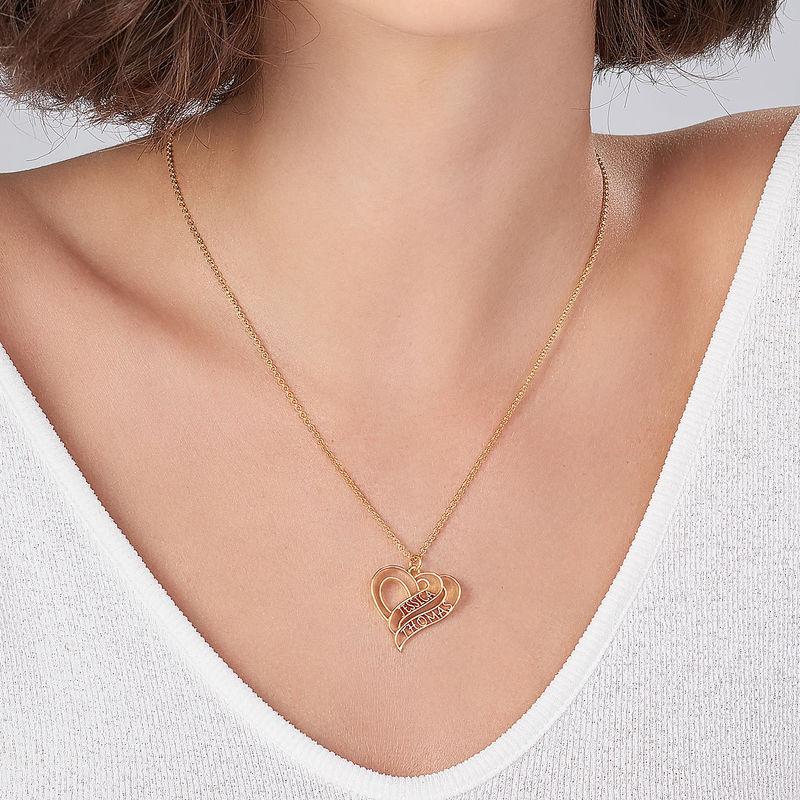 Collar Personalizado de Corazón 3D Chapado en Oro de 18k - 3