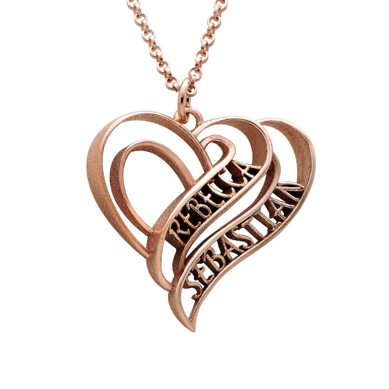 Collar Personalizado de Corazón 3D Chapado en Oro Rosa 18k