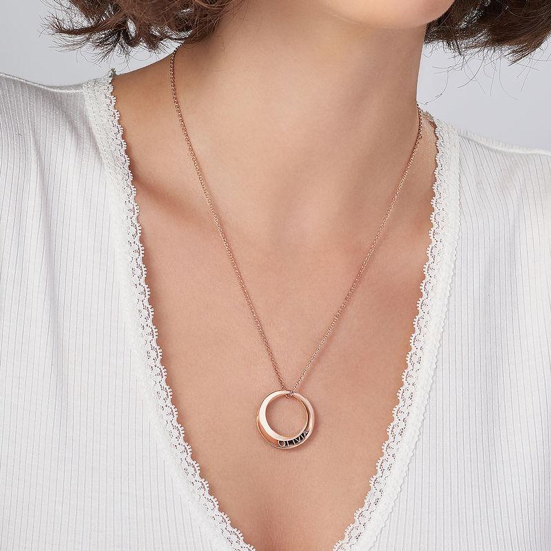 Collar Círculo 3D Personalizado chapado en oro rosa - 3