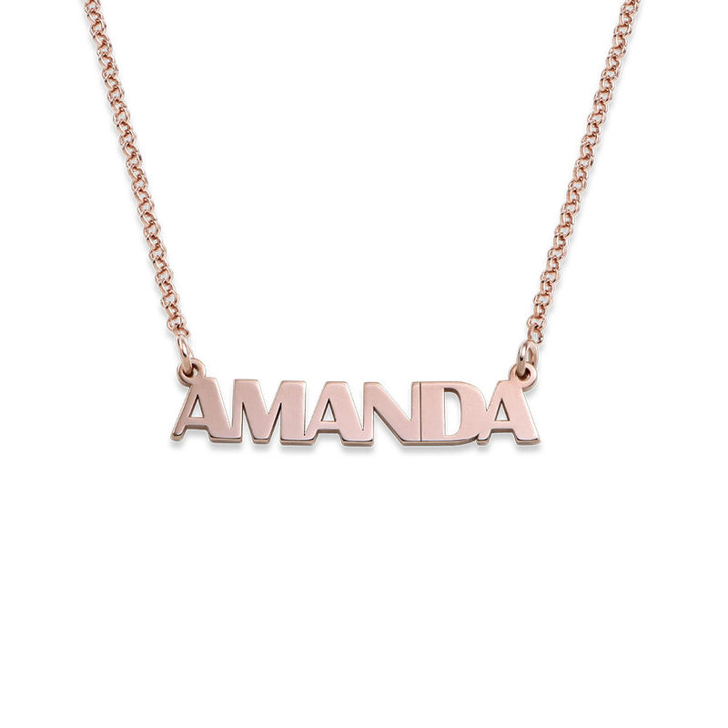 Collar con Nombre en Letras Mayúsculas chapado en oro rosa de 18K