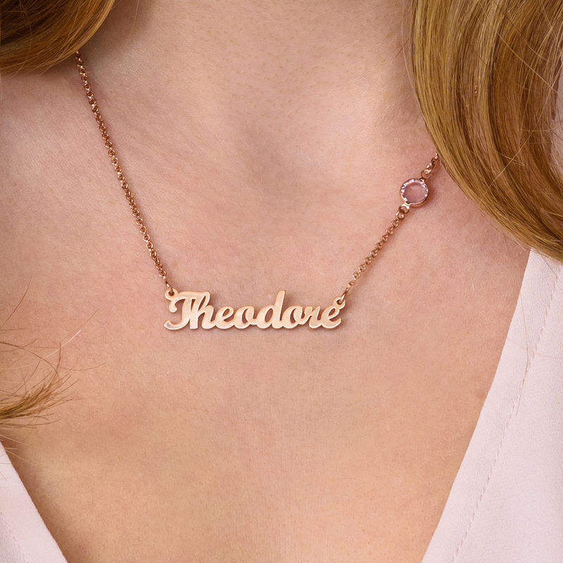 Collar con Nombre Chapado en Oro Rosa con Una Piedra de Nacimiento - 2