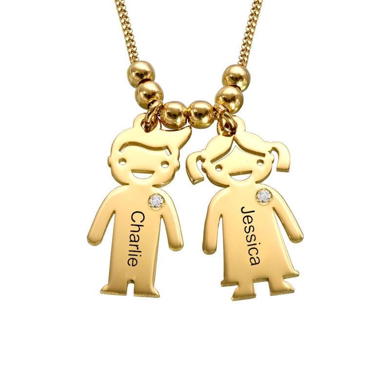 Collar con colgante de niños con diamantes chapado en oro