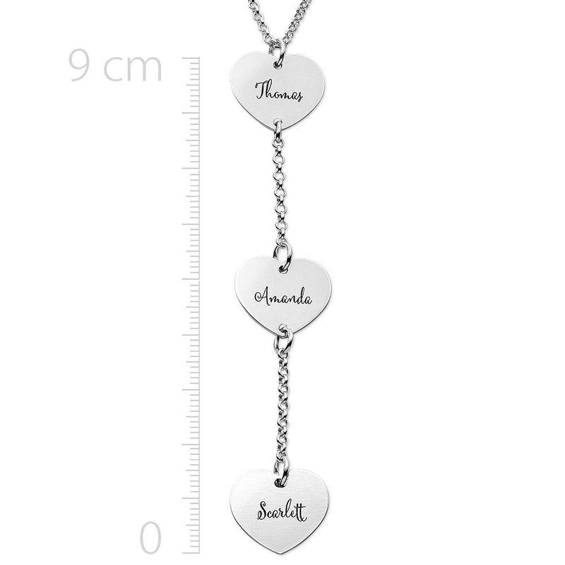 Collar personalizado en forma de Y en plata de ley con colgantes de corazón - 1