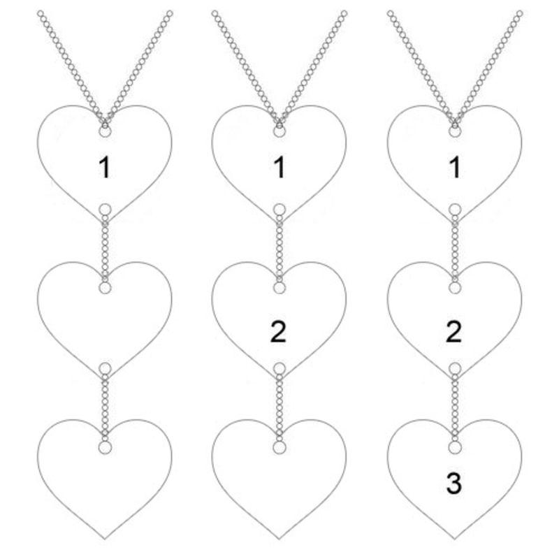 Collar personalizado en forma de Y en plata de ley con colgantes de corazón - 5