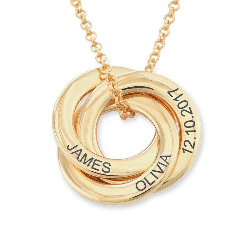 Collar anillo ruso chapado en oro - diseño 3D curvo - 1