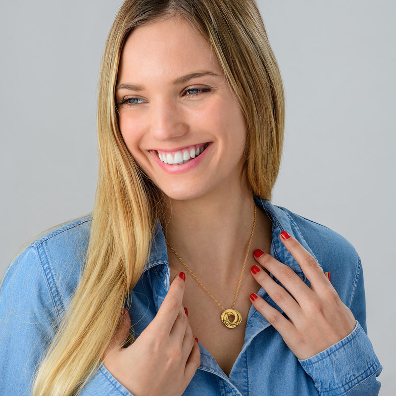 Collar anillo ruso chapado en oro - diseño 3D curvo - 4