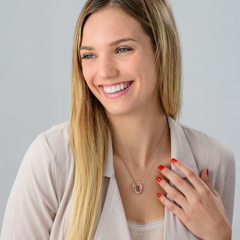 Collar anillo ruso chapado en oro rosa - diseño 3D curvo - 4