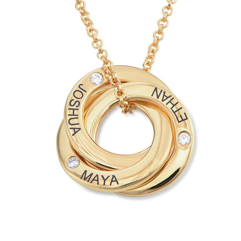 Collar anillo ruso chapado en oro con circonia cúbica