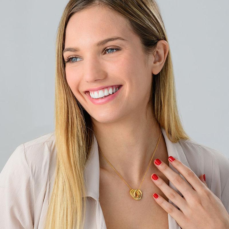 Collar anillo ruso chapado en oro con circonia cúbica - 2