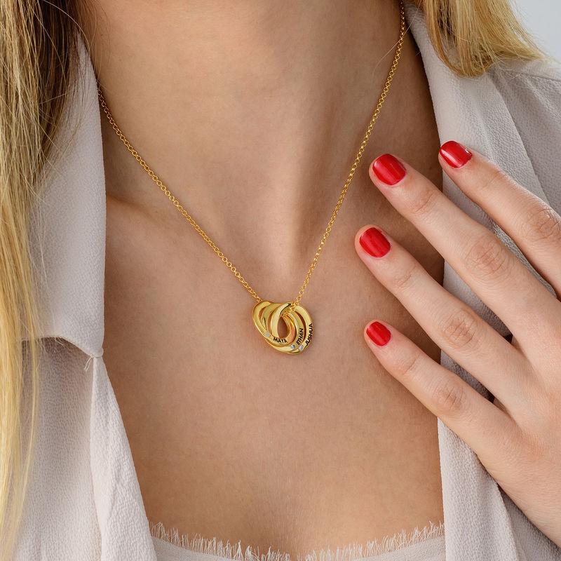 Collar anillo ruso chapado en oro con circonia cúbica - 3