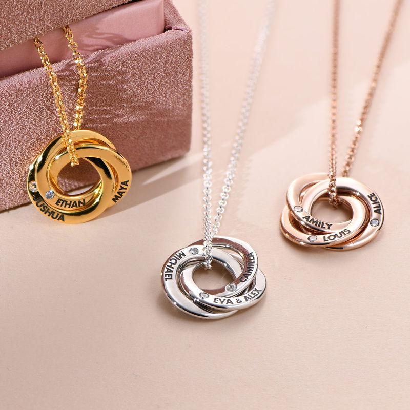 Collar anillo ruso chapado en oro rosa con circonia cúbica - 1