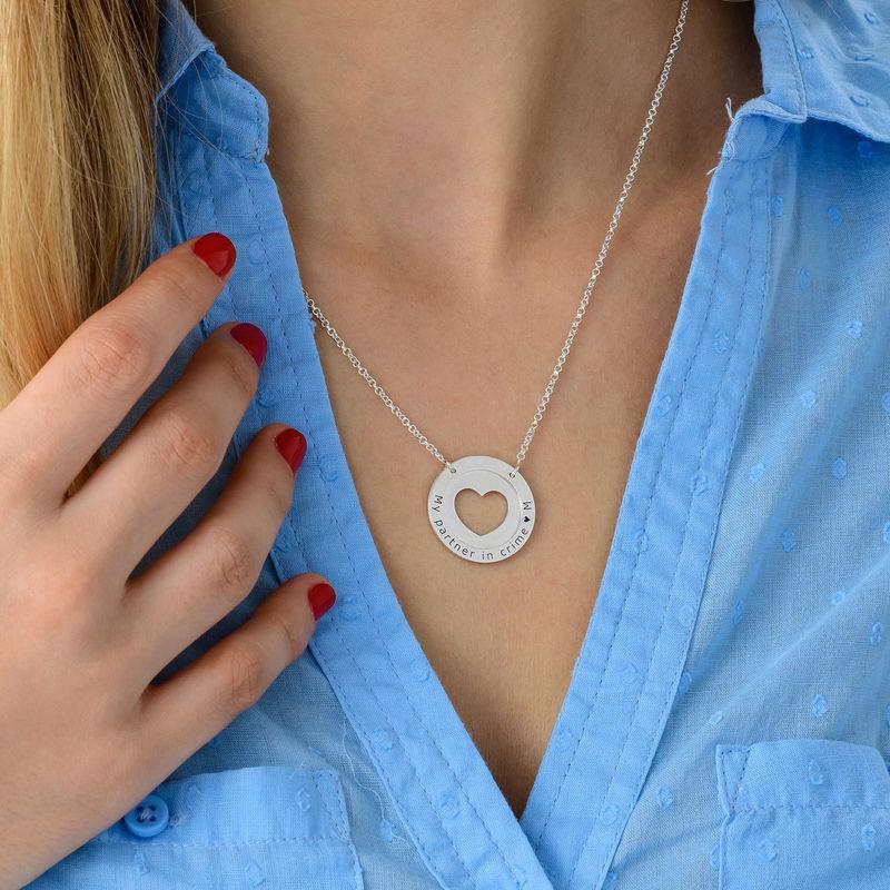 Collar de corazón circular en plata - 3