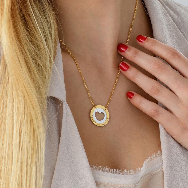 Collar de corazón circular en plata y chapado en oro - 3