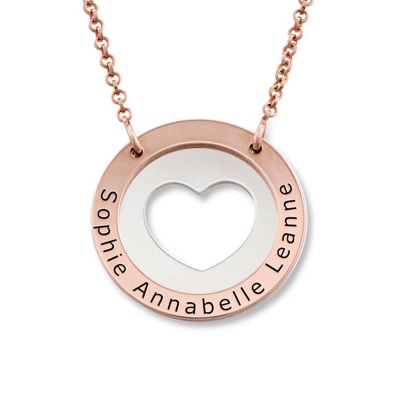 Collar de corazón circular en plata y chapado en oro rosa