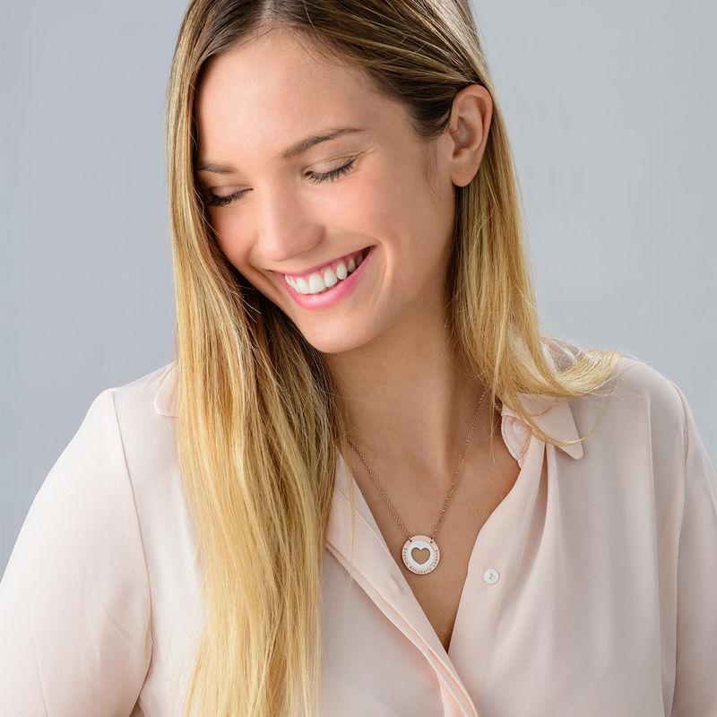 Collar de corazón circular en plata y chapado en oro rosa - 2