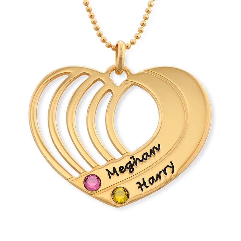 Collar de corazón grabado chapado en oro