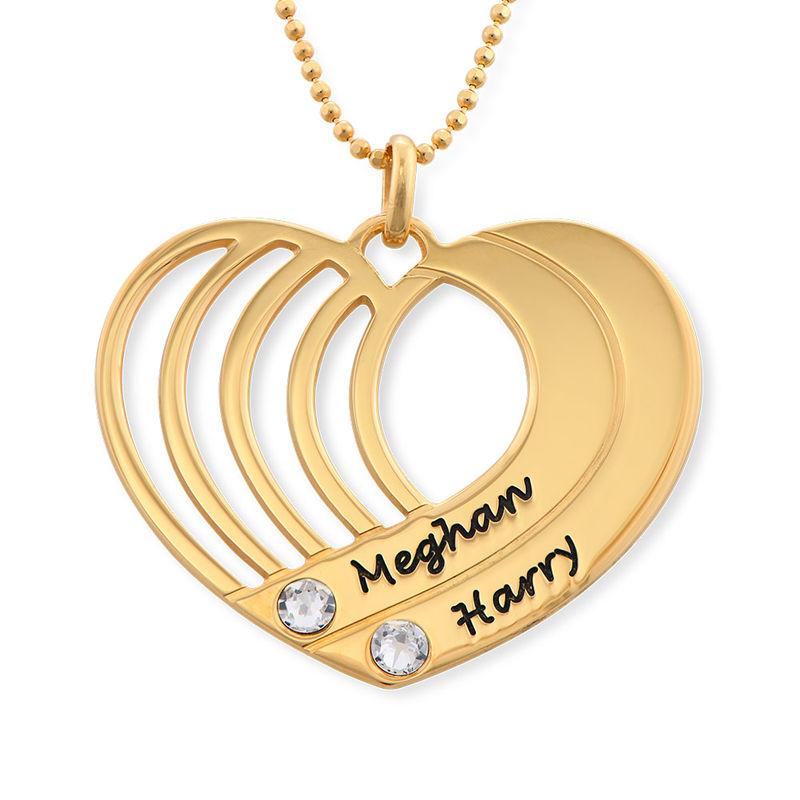 Collar de corazón grabado chapado en oro - 1