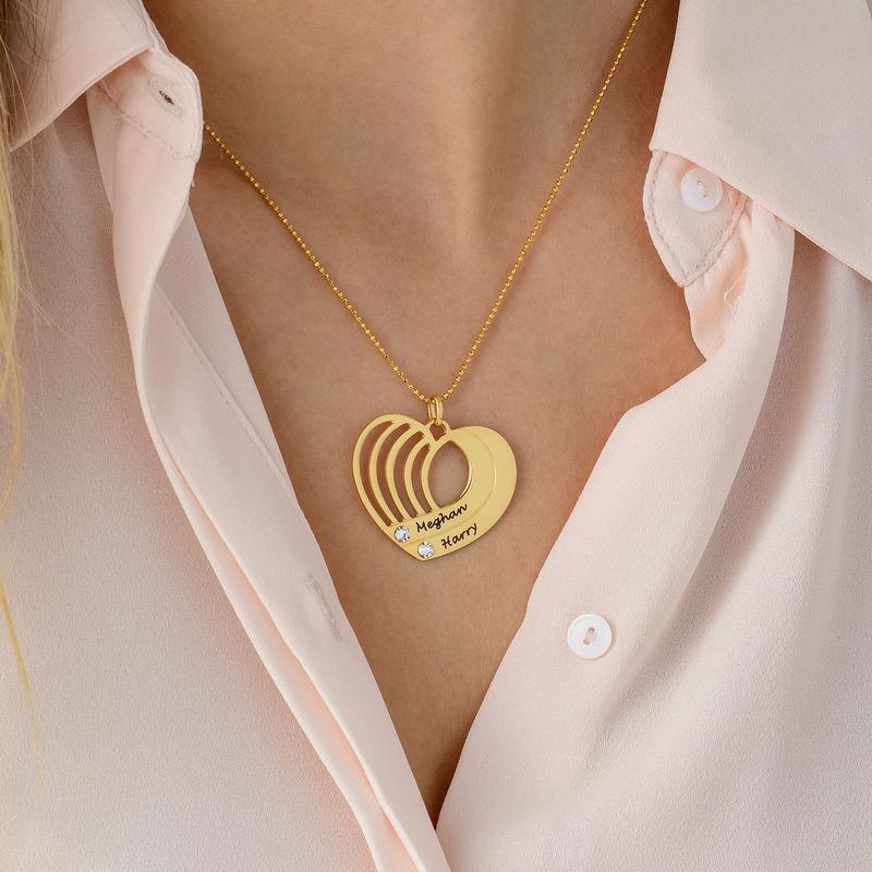 Collar de corazón grabado chapado en oro - 4