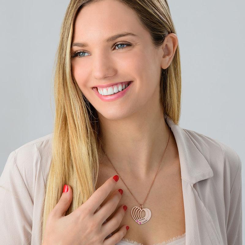 Collar de corazón grabado chapado en oro rosa - 3