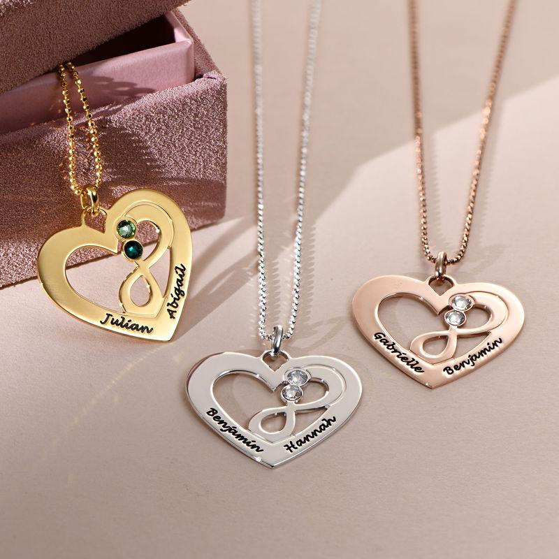 Collar de corazón en plata con piedras de nacimiento - 2