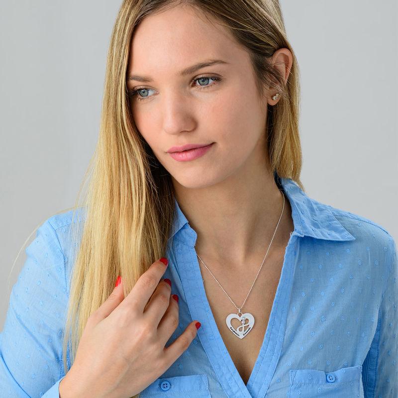 Collar de corazón en plata con piedras de nacimiento - 3