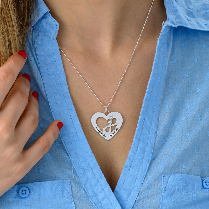 Collar de corazón en plata con piedras de nacimiento - 4