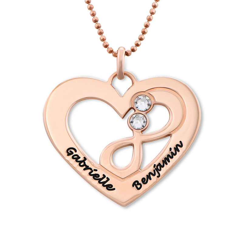 Collar infinito de corazón chapado en oro rosa - 1