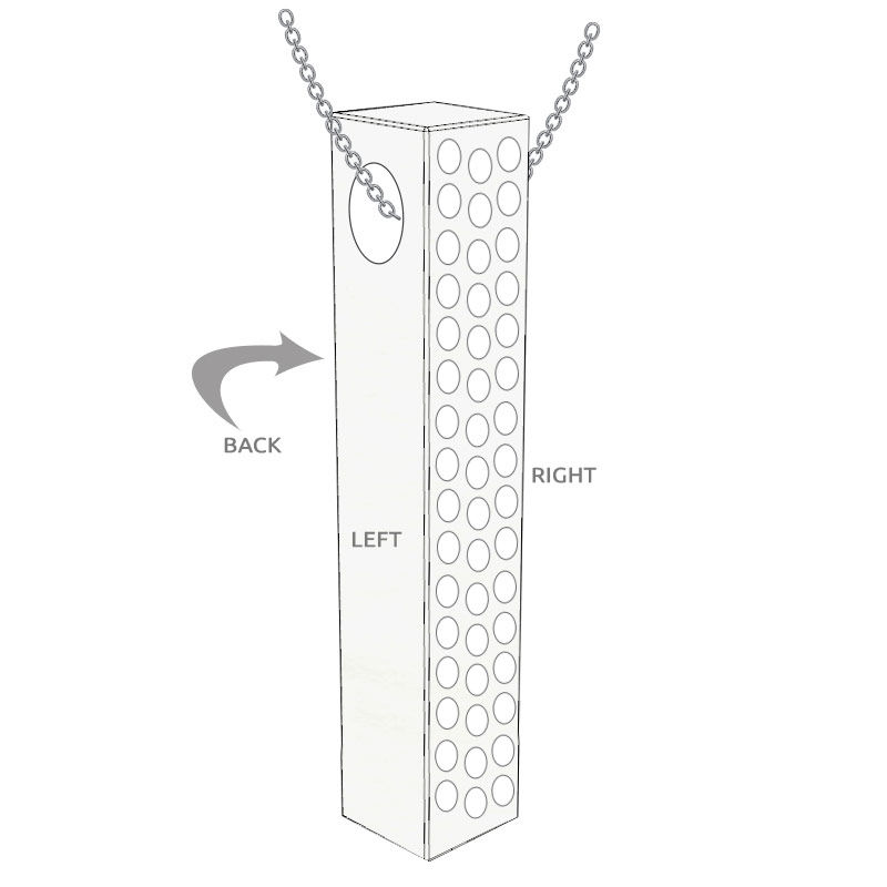 Collar de barra grabado 3D vertical en plata con circonia cúbica - 5