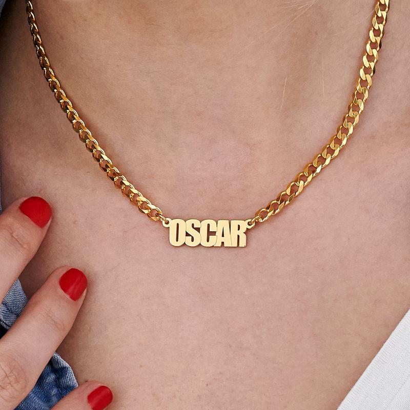 Collar con nombre con cadena gruesa chapado en oro - 4
