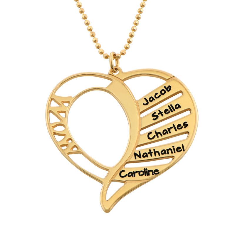Collar Grabado en forma de  corazón para Mamá en Chapado de Oro 18k.