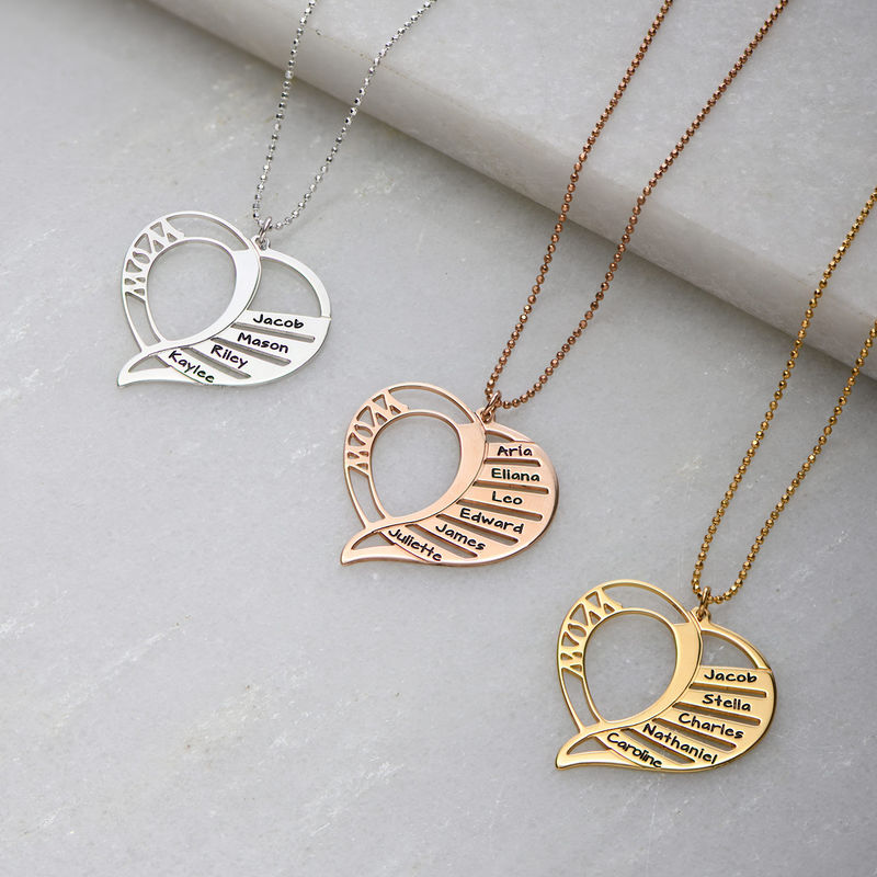 Collar Grabado en forma de  corazón para Mamá en Chapado de Oro Rosa 18k. - 1