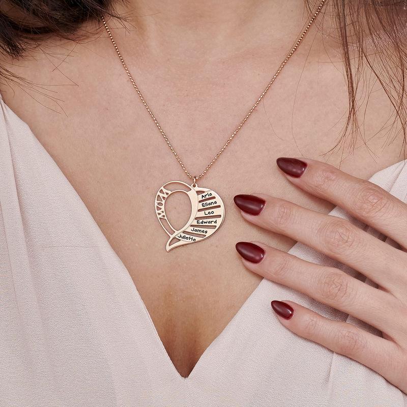 Collar Grabado en forma de  corazón para Mamá en Chapado de Oro Rosa 18k. - 3