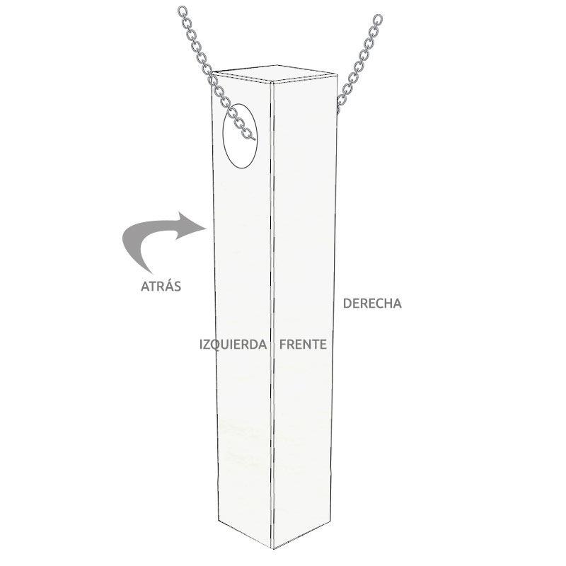 Collar Barra 3D para Hombre en Plata en Mate - 5