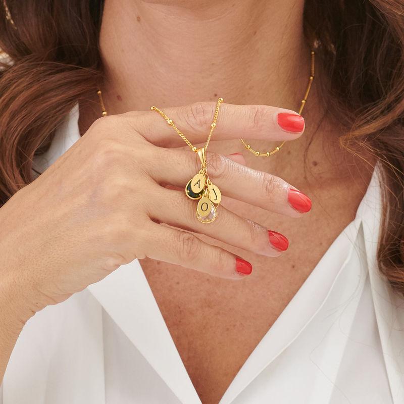 Colgante personalizado con piedra de nacimiento para mamá chapado en oro - 3