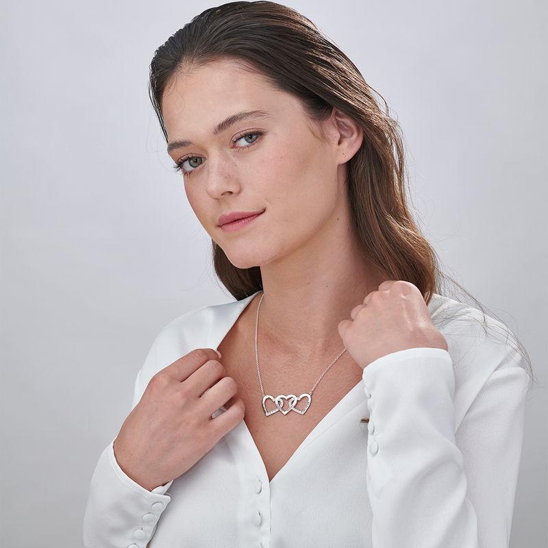 Collar de 3 corazones grabado en plata - 1
