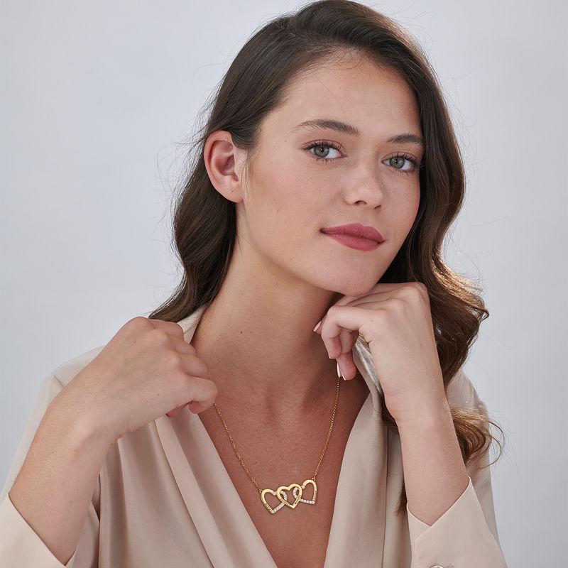 Collar de 3 corazones grabado chapado en oro - 1