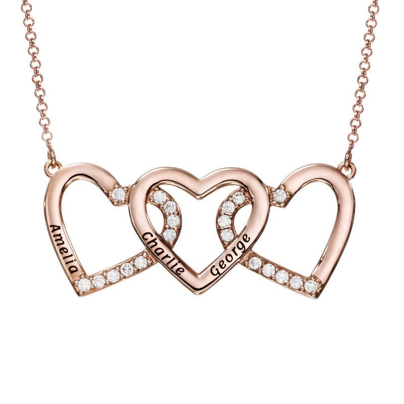 Collar de 3 corazones grabado chapado en oro rosa