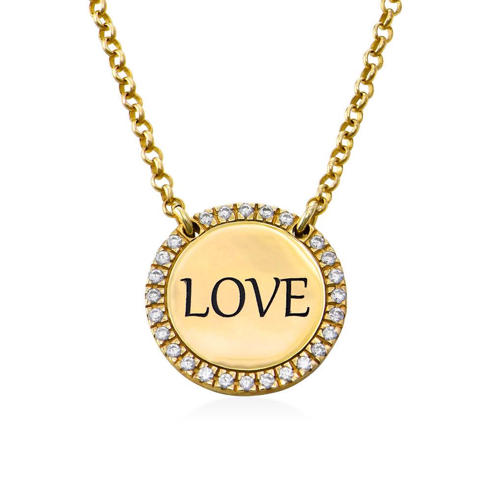 Collar con medalla redonda grabada con circonia cúbica chapado en oro - 1