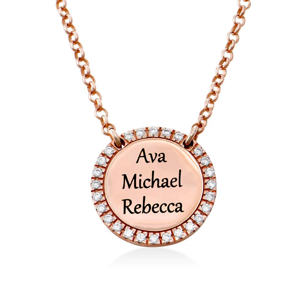Collar con medalla redonda grabada con circonia cúbica chapado en oro rosa - 2