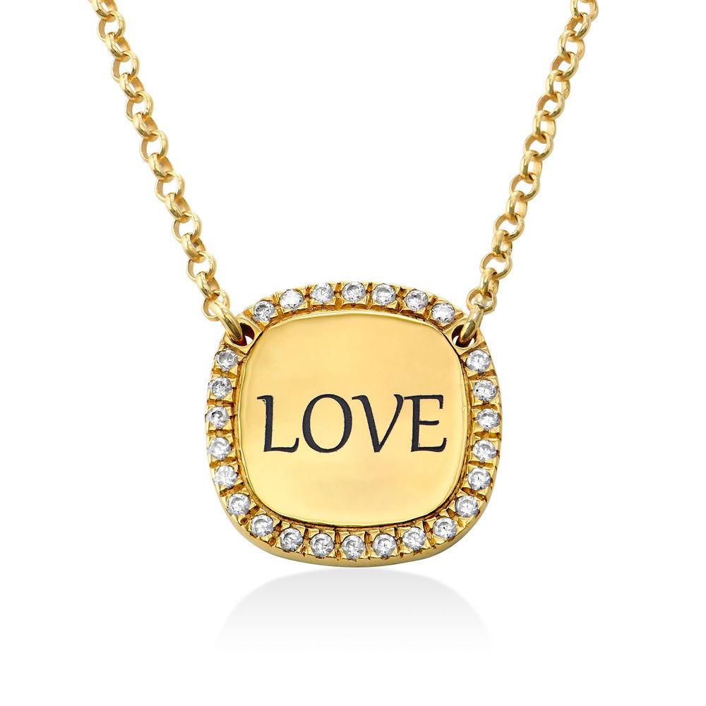 Collar con medalla rectangular grabada con circonia cúbica chapado en oro - 1