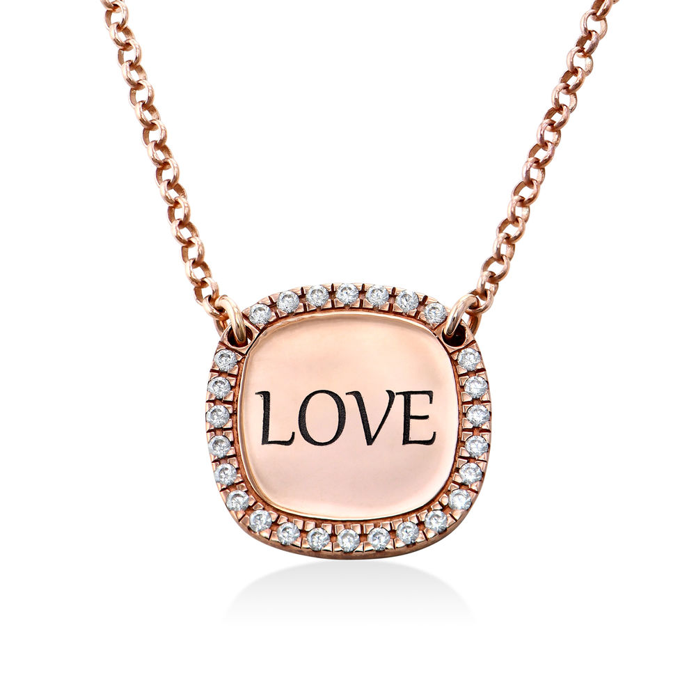 Collar con medalla rectangular grabada con circonia cúbica chapado en oro rosa - 1