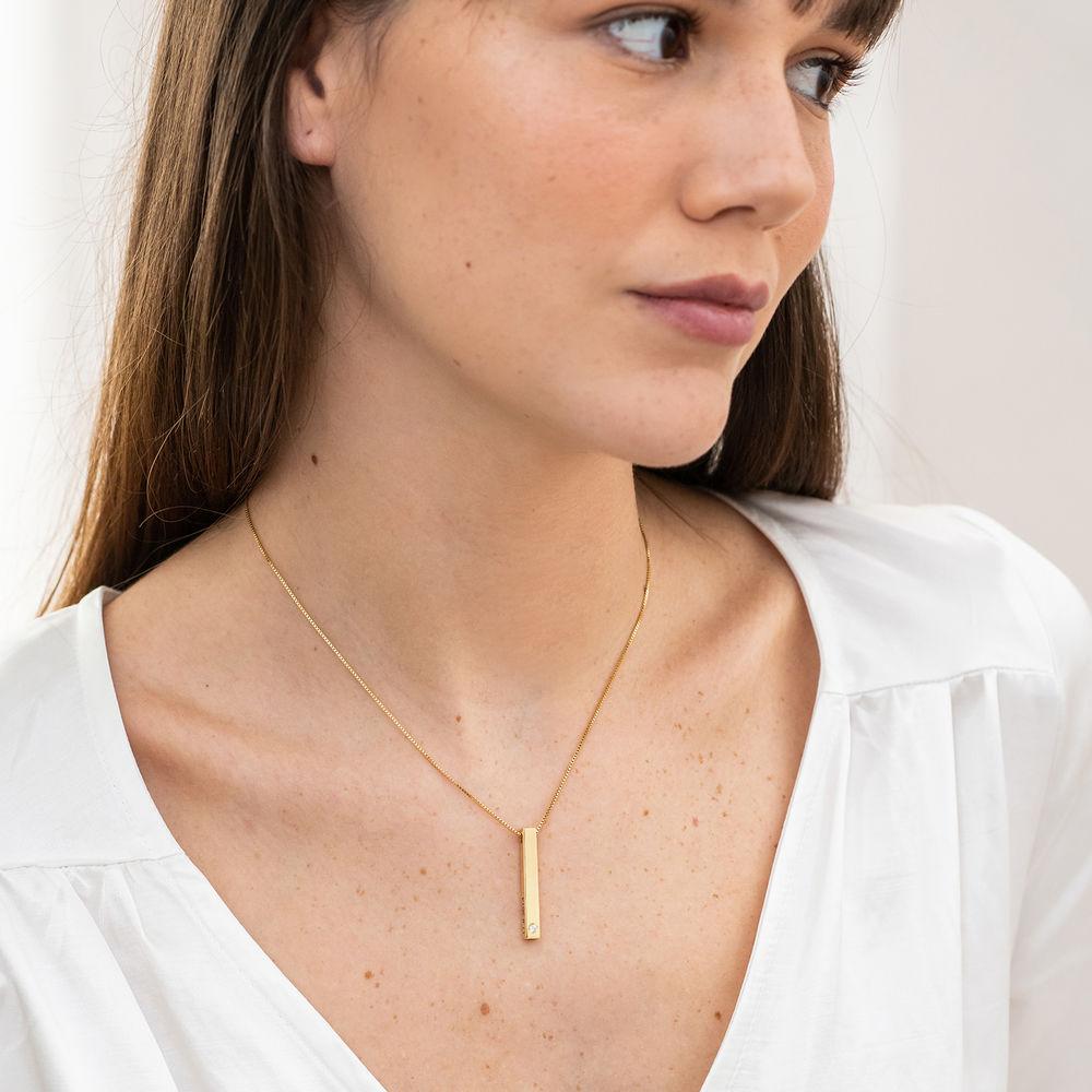 Collar vertical de barra 3D en oro vermeil con diamante - 2