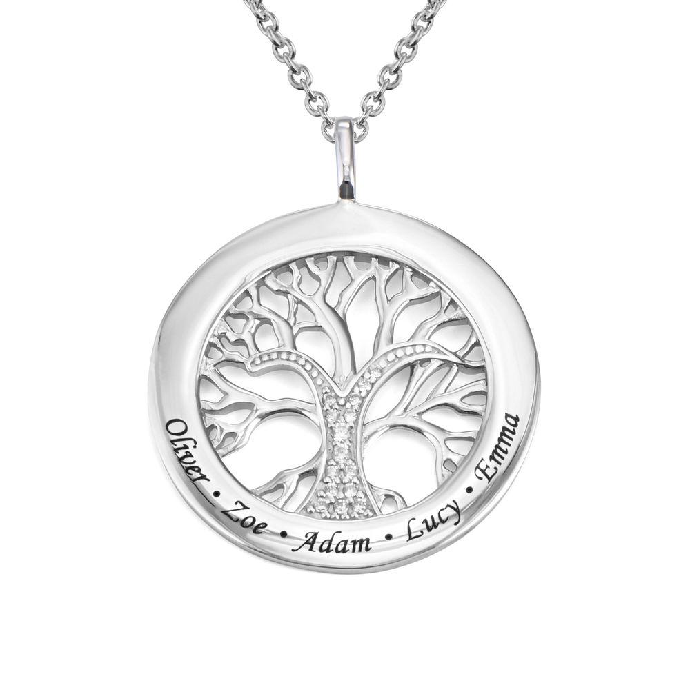 Collar con círculo con árbol de la vida y circonia cúbica en plata 925