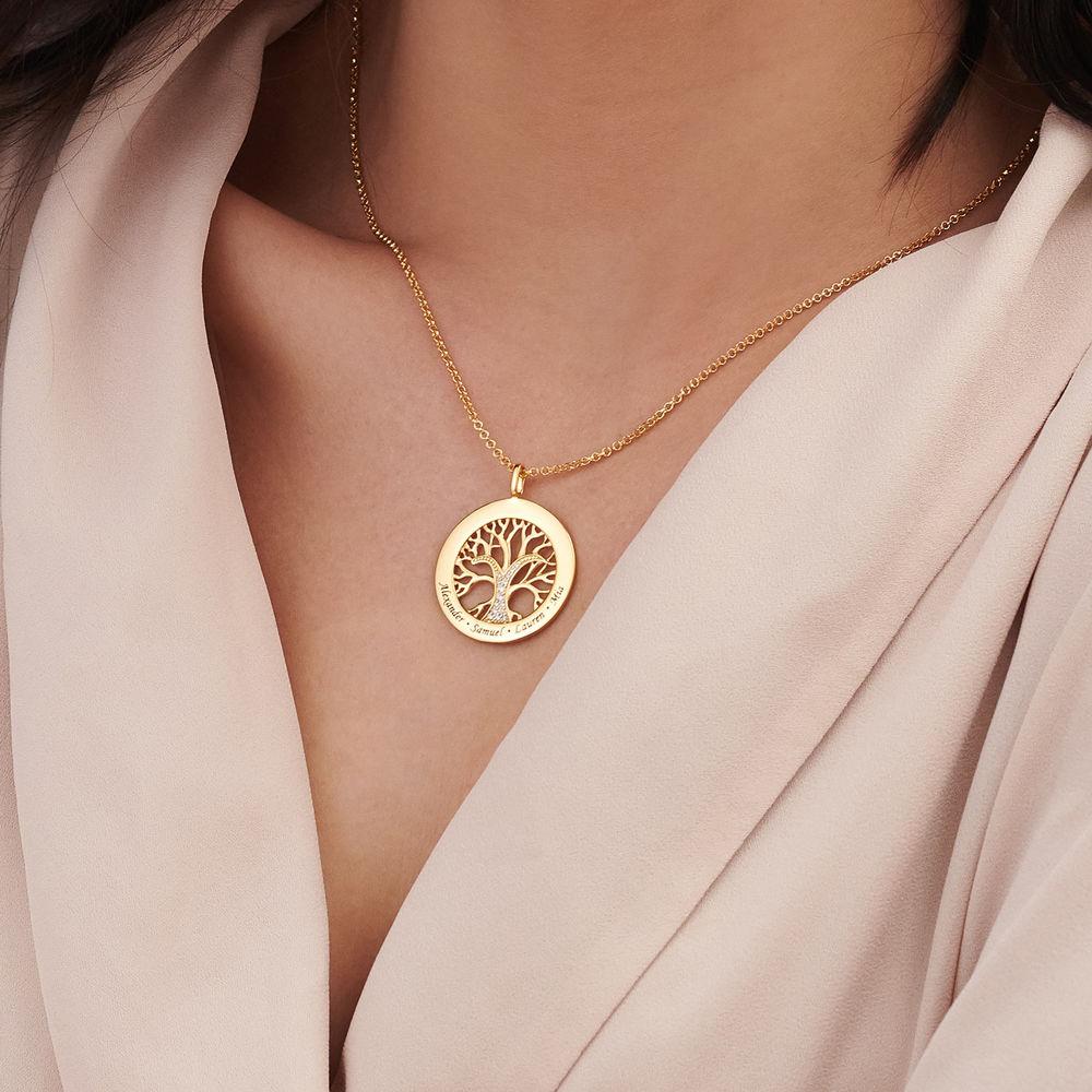 Collar con círculo con árbol de la vida y circonia cúbica chapado en oro - 3